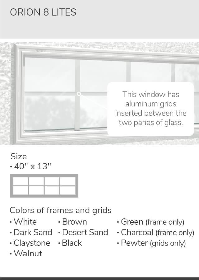 Clear glass, 21' x 13' and 40' x 13', available for door R-16
