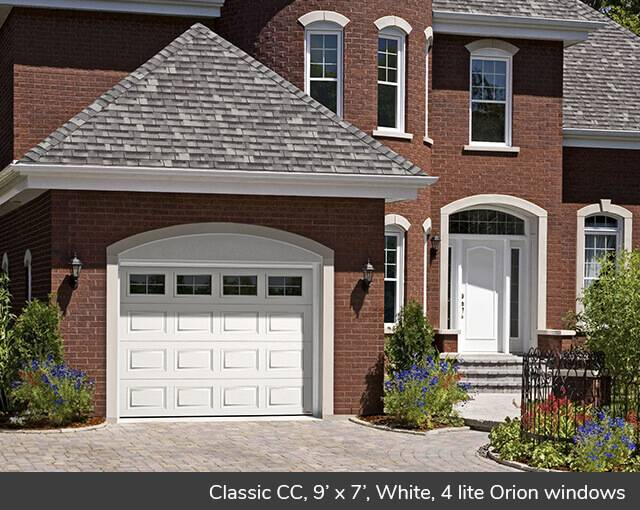 Eastman E-12, 14' x 7', Claystone door and Ice White, Orion 4 vertical lite windows